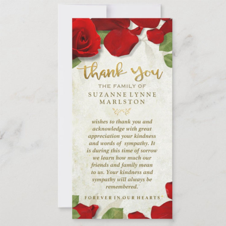 Red Rose Petals Golden Your Kindness Always Be Remembered Thank You Sympathy Family Cards