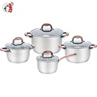Realwin copper color handle 8pcs kitchen casserole SS saucepan stainless steel kitchen cooking pot cookware set