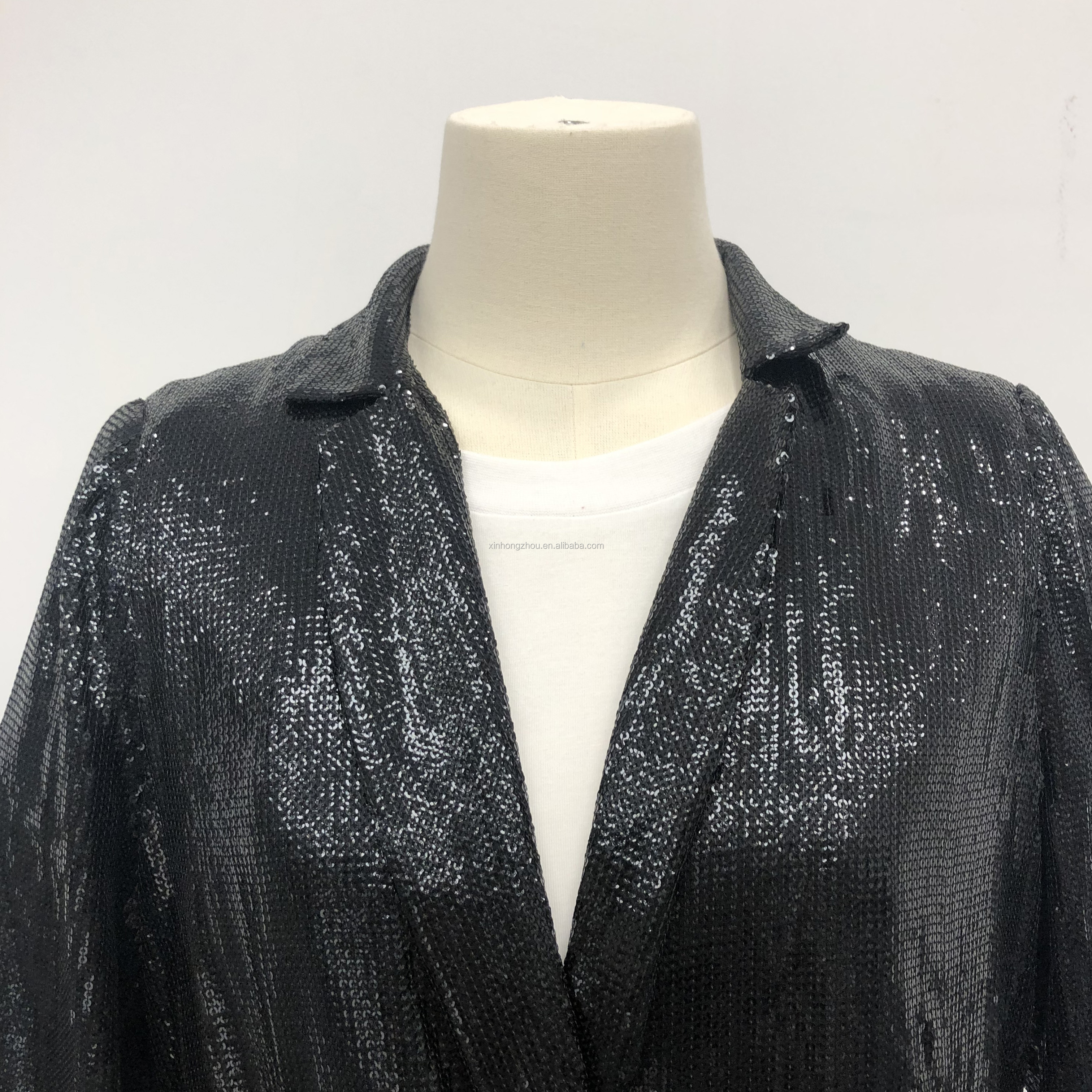 new high quality ladies Sequined suits Women jacket suits deep V neck sparkeling glitter sequin wear