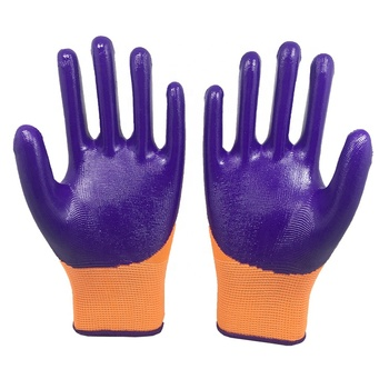 Purple Nitrile Gloves Full Coated Nitrile Gloves Mechanic Gloves