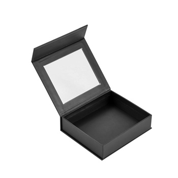 Matte Black Custom Luxury Rigid Paper Gift Packaging Flip Lid Magnetic Closure Cardboard Box With Clear Window