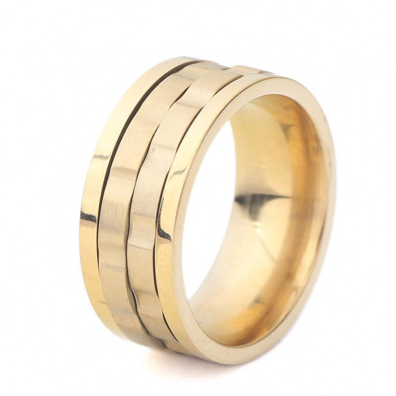 Unique Rotatable Stainless Steel Rings Gold Plated 18K Ring For Men Dylam jewelry