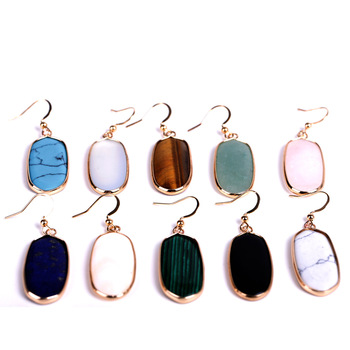 Natural stone Oval Hexagon Drop Earrings Turquoise Rose Quartz lapis lazuli Earrings for Women Brand gold Jewelry 22X43MM