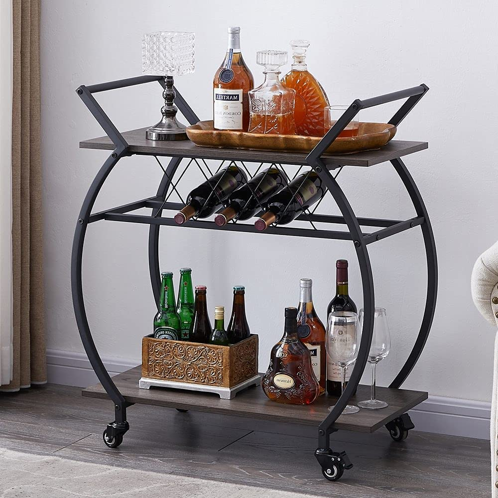 Serving Trolley Carrinho Bar De Metal Storage Shelf for Home Metal Frame Metal Wine Rack Table with Glass Holder for dining room