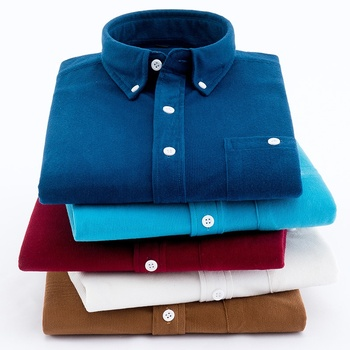 Wholesale Solid Color 100% Polyester Casual Long Sleeve Corduroy Shirts For Men