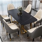 Furniture Set Table And Chair Hot Selling Dining Table Set Modern Dining Room Furniture Table And Chairs With Golden Chrome