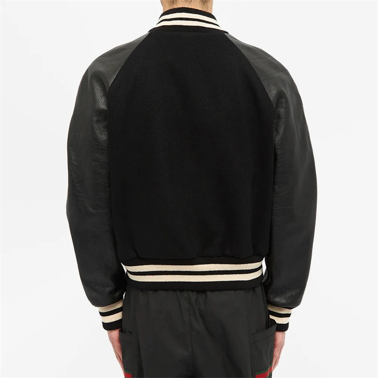 Custom college school styles leather sleeve short varsity jacket for men