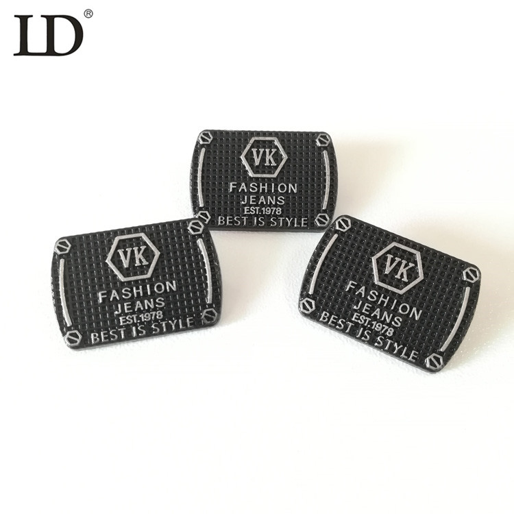 Wholesale Price Bag Accessories alloy label Rectangle Eco-friendly Metal Label Custom Private Brand Logo Label