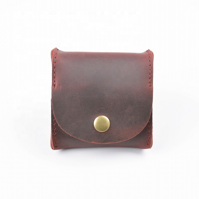 In Stock Rustic Leather Pocket Coin Case Genuine Leather Squeeze Coin Purse Pouch Change Holder Purse Wallet for men women