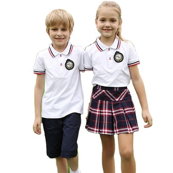 School Anti-Wrinkle 5 Colors Breathable PIQUE Cotton Clothes Design Summer Unisex Boys and Girls 2-Piece Sport School Uniform