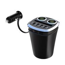4 USB автомобильный держатель для чашки Адаптер 120 Вт 7.2A один-два прикуривателя Автомобильное зарядное устройство Автомобильный держатель дл...(China)
