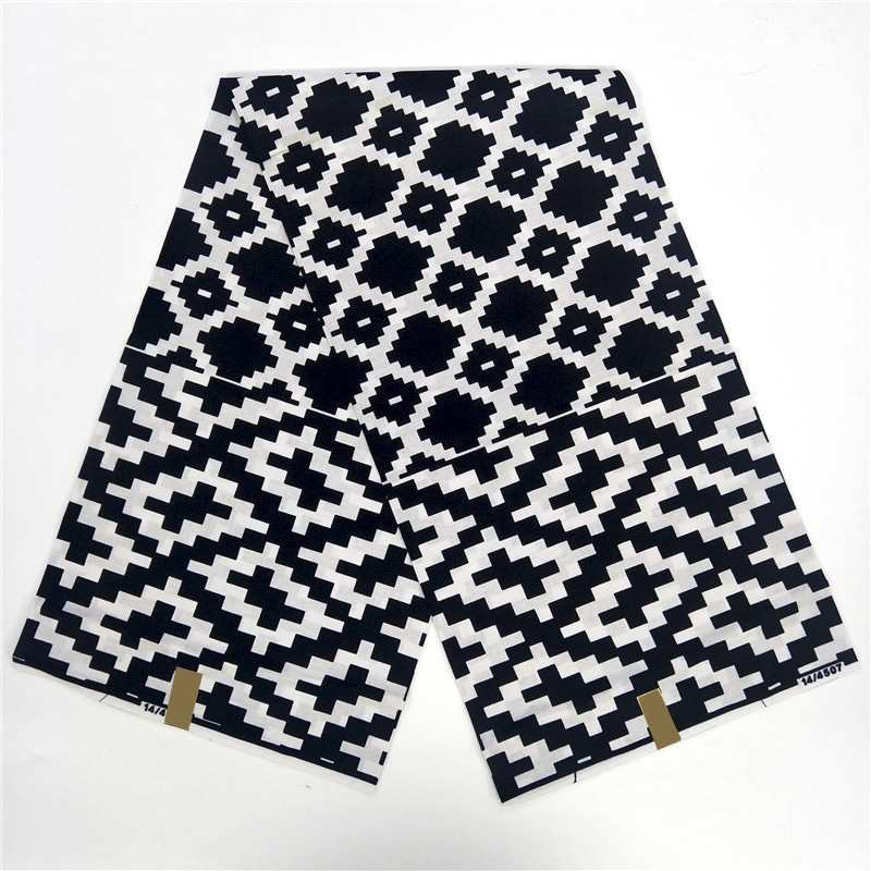 Black and white wax 100% cotton african wax best price real wax for 6 yards