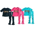 Clothes Designer Girls Cotton Kids Clothes Design Custom Logo Kids Clothes Summer Designer Toddler Clothes Vendor Spring Stacked Pants 1 Year Old Girls Clothing