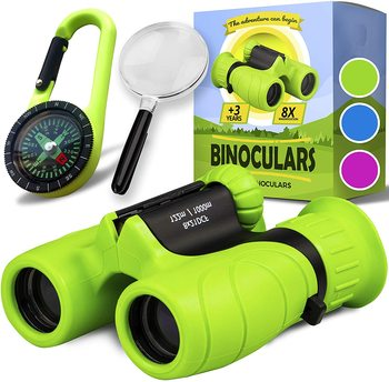 Compact Binoculars for Kids Bird Watching Hiking Camping Fishing Accessories Gear Essentials Best Toy Gifts for Boys Girls Child