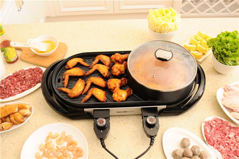 2 температурная система с антипригарной поверхностью для приготовления пищи, электрический горячий горшок, гриль для барбекю