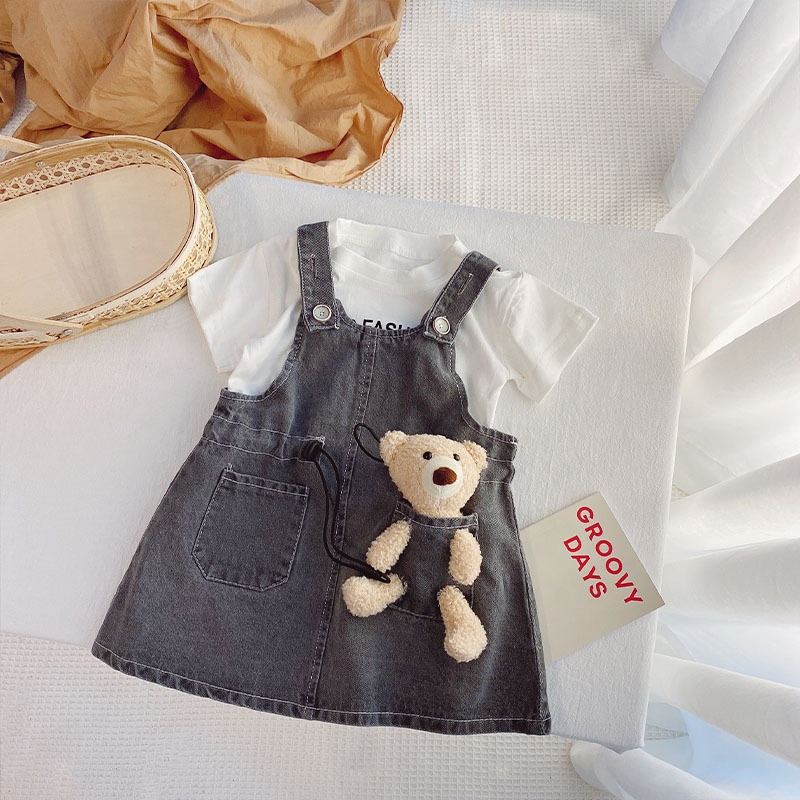 Toddler Baby Girls White Short Tops Denim Suspender Pants Children Clothes Outfits For Girl