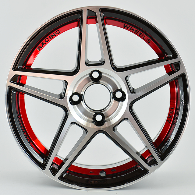 Aftermarket 15x7 inch red inner lip star design PCD 100-114.3 Alloy wheels