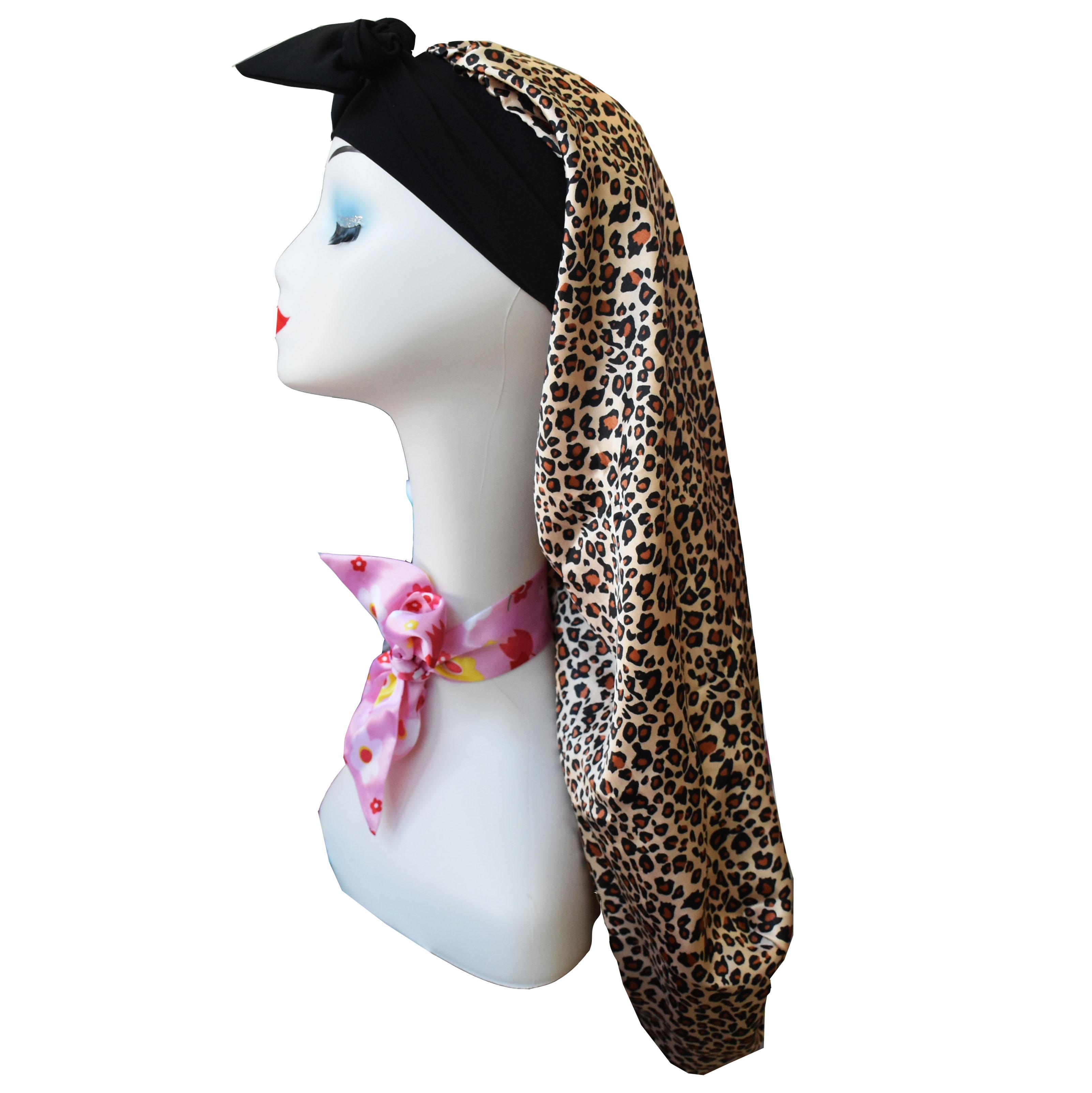 Customize fashion loc custom logo satin braid silk bonnet with band vendor dread lock bonnet