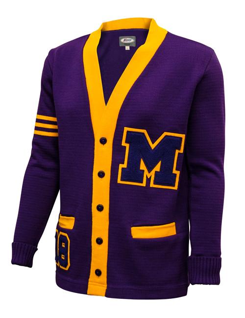custom stripes Purple Gold Letter men Sweater college wool knitted cotton Vintage High School knitwear Cardigan