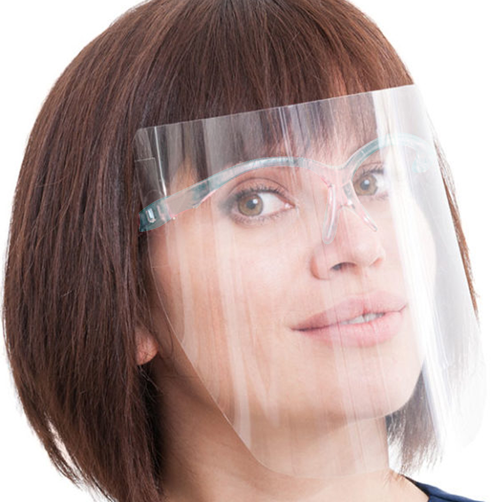 Plastic Anti fog Eye Protection Transparent Foldable Face Shieldmask Visor Mask with Glasses Frame without heng de faceshield - KingCare | KingCare.net