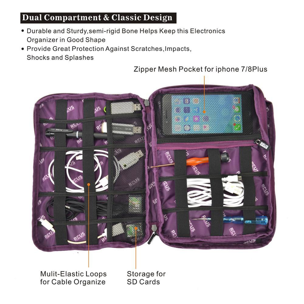 Многофункциональный чехол для электронных аксессуаров, дорожный универсальный органайзер для кабелей для зарядного устройства, телефона, USB, SD-карты