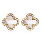 Gold White Earrings Earring Stainless Wholesale Custom Jewelry Stainless Steel 18k Gold Plated 4 Leaf Clover White Shell Crystal Stud Earrings For Women