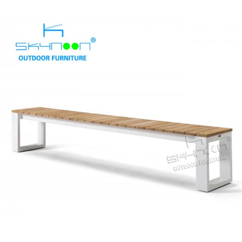 Новый стиль, алюминиевая уличная обеденная скамейка, современная деревянная скамейка с открытой спиной на заказ, Высококачественная уличная скамейка (61056A)