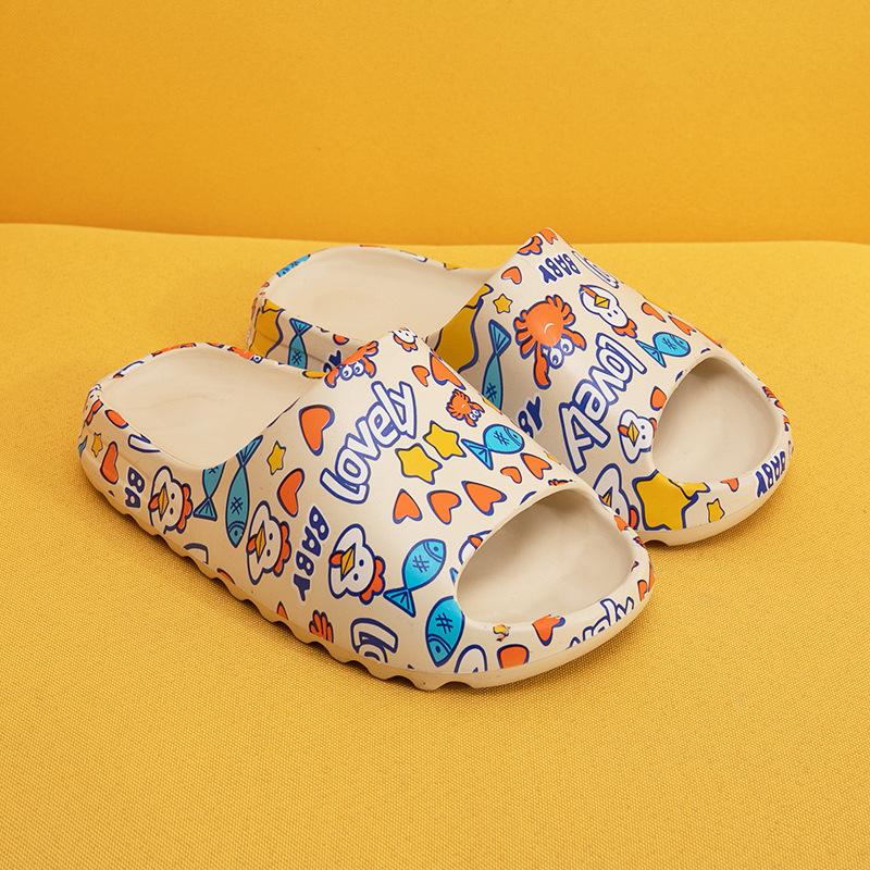 Happyslides/оригинальные фирменные детские тапочки; Шлепанцы с коробкой; Grafftiti Yeezy; Летние шлепанцы
