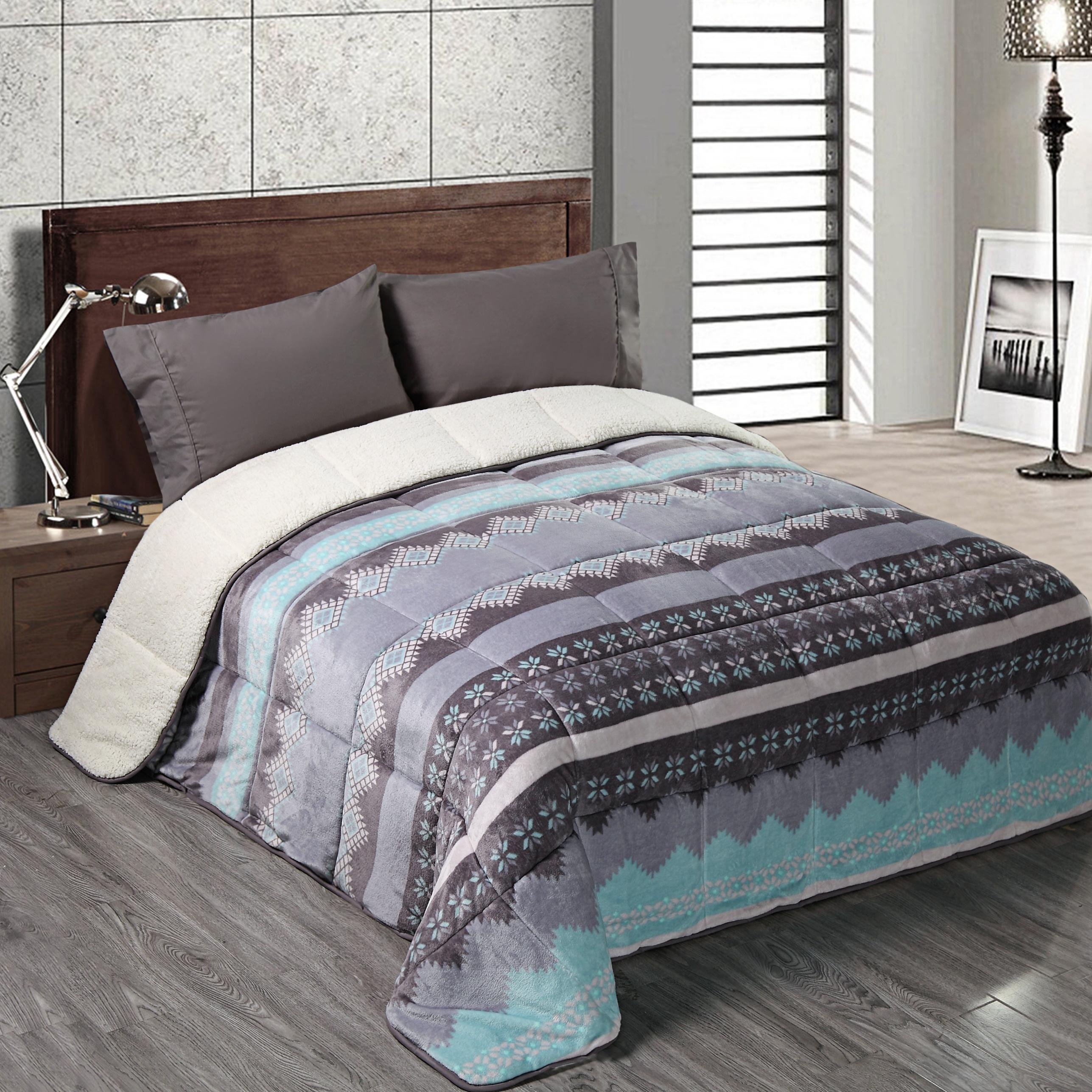 Комфортное Фланелевое теплое одеяло Sherpa с принтом для отеля на зиму