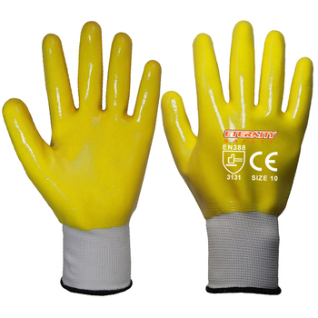 13G polyester nitrile coated purple blue yellow grey work gloves with custom logo