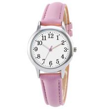 Женские часы с кожаным ремешком, элегантные кварцевые часы конфетного цвета с ремешком, простой набор для чтения(Китай)