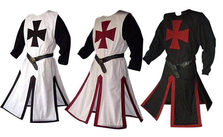Men Medieval Cosplay Robes Templar Knight Crusader Surcoat Reenactment Costume
