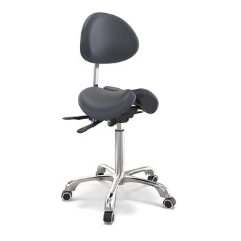 Ergonomic Adjustable Dental Saddle Stool Chairs Clinic PU Leather Chair with Backrest