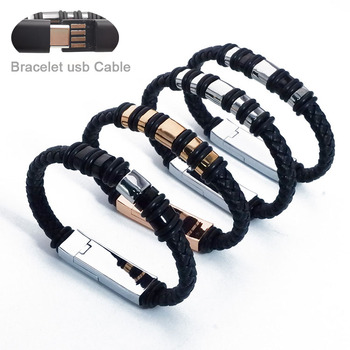 Leather Bracelet 20cm Short USB Charging Data Cable For Iphone Type C Micro Charger