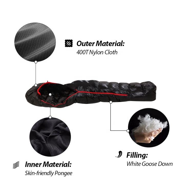 Kinggear по 4-м временам года легкий портативный водонепроницаемый кемпинг белый гусиный пух Мумия спальный мешок сжатия