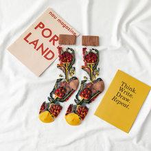 Прозрачные носки с вышивкой, Цветочные Носки для женщин, фруктовые носки для девочек, женская мода, Harajuku, повседневные носки с цветочным при...(Китай)