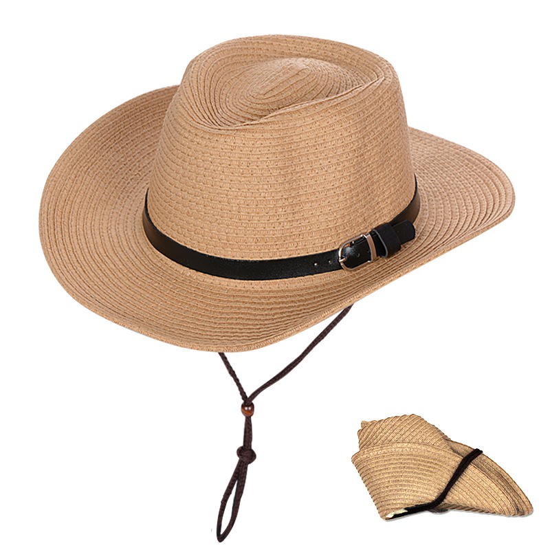 Factory customization summer breathable hemming foldable cowboy hat Big Brim Straw Hat outdoor sun hat
