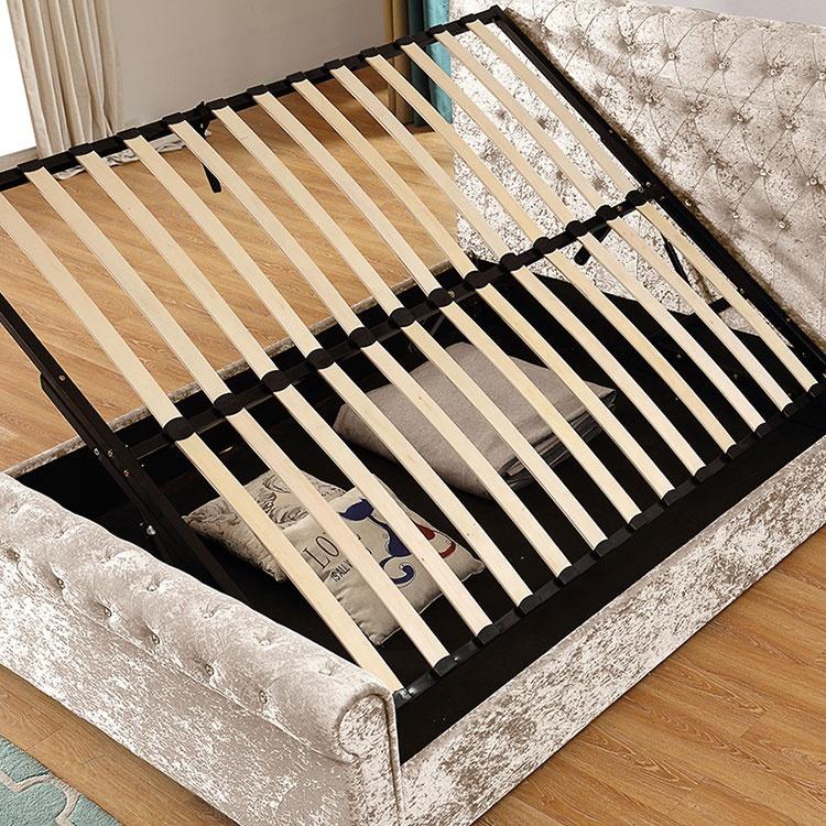 Bedroom furniture queen size golden crushed velvet fabric bed headboard sleigh bed