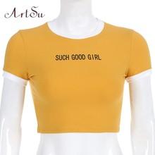 Женская футболка с рисунком ArtSu, белая Повседневная футболка с рисунком, уличная одежда, лето 2019(China)