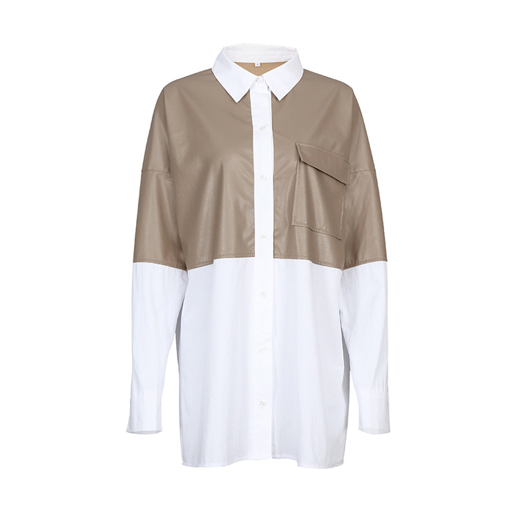 Fashion Patchwork PU Leather Blouse Women Loose Pocket Cotton White Long Shirt Female Casual Blouses Tops
