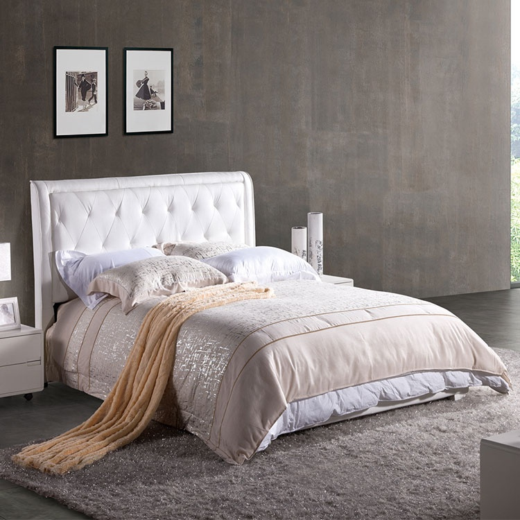 European German style home furniture tatami latest popular modern white single double leather bed
