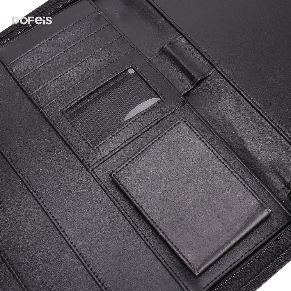 Многофункциональная сумка для хранения файлов из ПУ кожи, Размер A4, кожаные папки для документов, папка-книжка