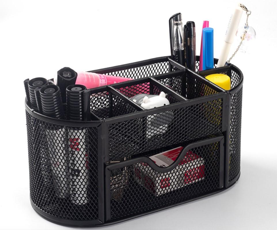 Promotional Portable Iron Metal Mesh Office Desk Organizer With Sliding Drawer