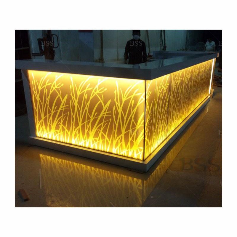 Популярная барная стойка L-образной формы для коммерческого использования, высокое качество, индивидуальный Размер, акриловый мрамор L-образной формы, барная стойка Популярное коммерческое использование l-образная барная стойка для продажи высококачестве