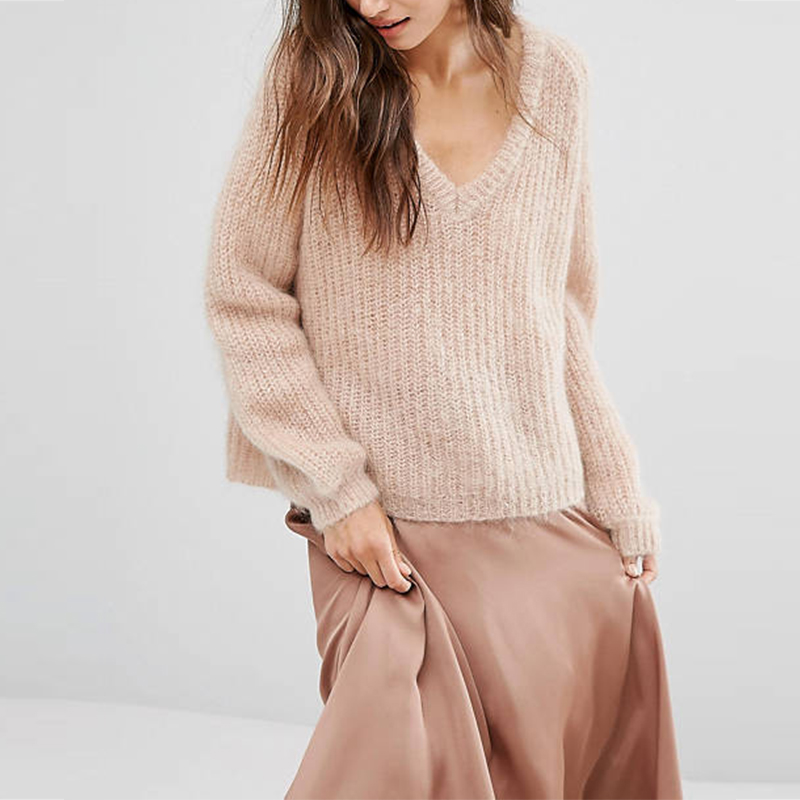 Custom 100% Pure Cashmere Women's Sweater Pullover Winter Knit V Neck Cotton Wool Cashmere Sweater