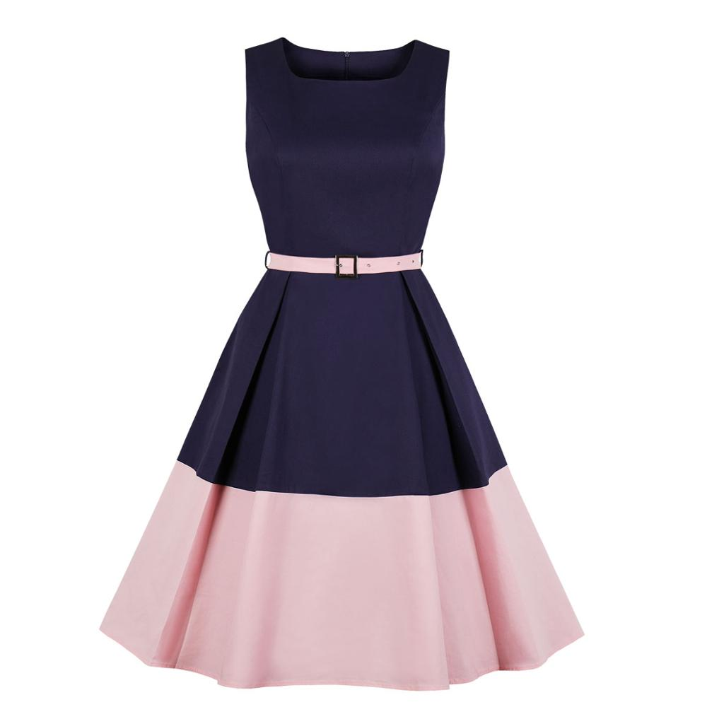 Contrast color stitching womans dresses mid length knee breathable cotton material summer sleeveless belt a-line ladies dress