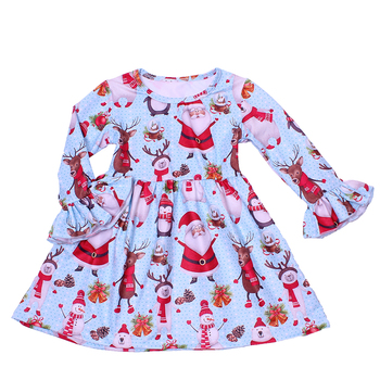Fashion children dress for girls kids simple frock design with Santa prints adult princess dress fancy nancy dress smocked