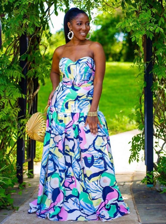 2020 Африканский Женский пуловер с перекрестным вырезом с открытыми плечами градиентное платье без рукавов с принтом