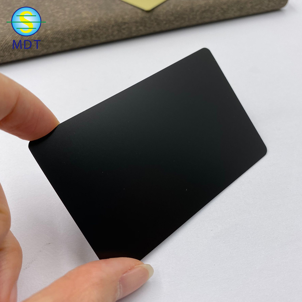 Customized design 85.5*54*0.3mm size matt black metal card