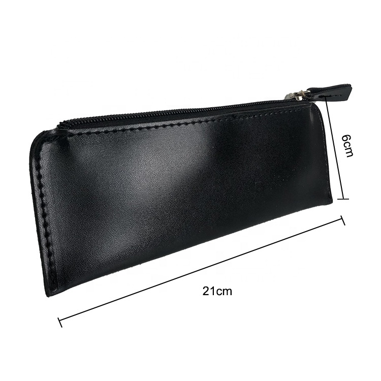 Custom colorful fashional offices school bag Zipper Leather Pencil Case